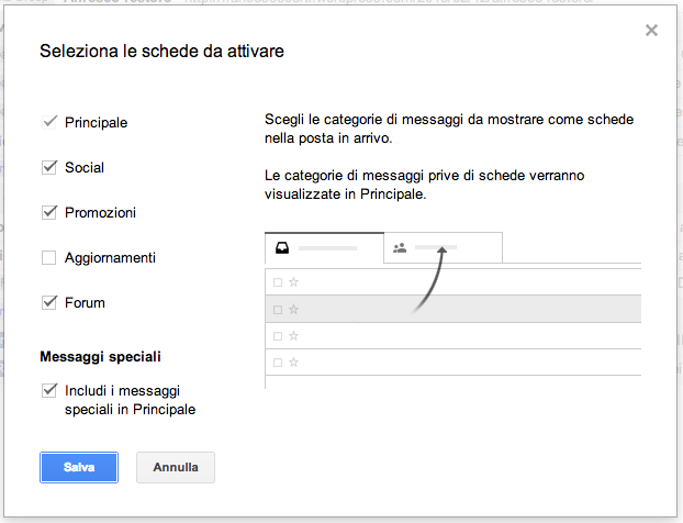 Configurazione categorie di Gmail